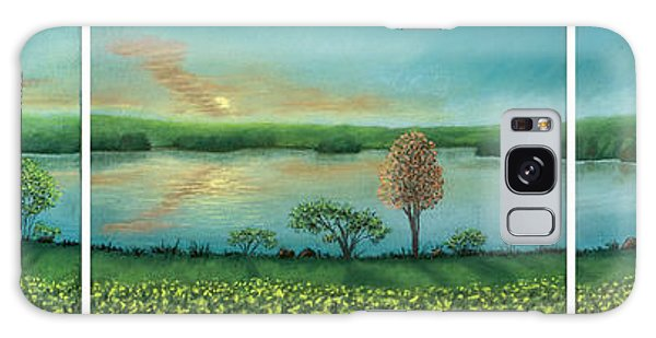 Sunset Lake Triptych Galaxy Case