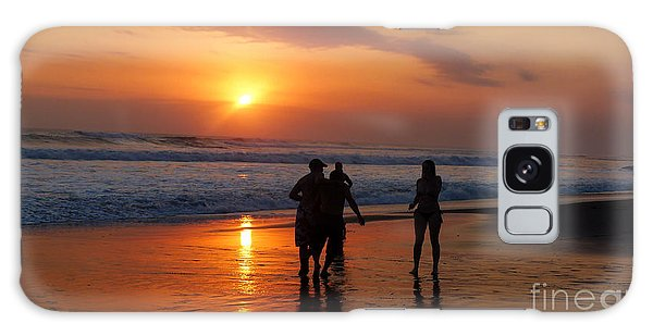 Sunset On Black Sand Beach Bali  Galaxy Case
