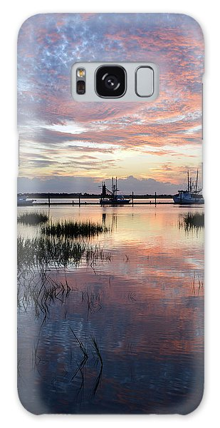 Sunset On Jekyll Island With Docked Boats Galaxy Case