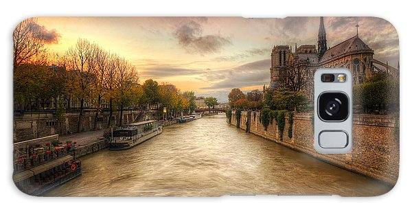 Sunset On Notre Dame Galaxy Case