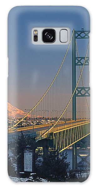 1a4y20-v-sunset On Rainier With The Tacoma Narrows Bridge Galaxy Case