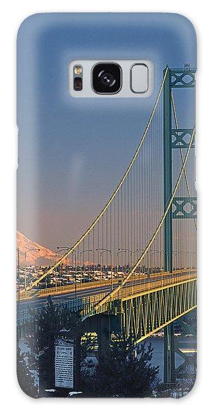 1a4y20-v-sunset On Rainier With The Tacoma Narrows Bridge Galaxy Case