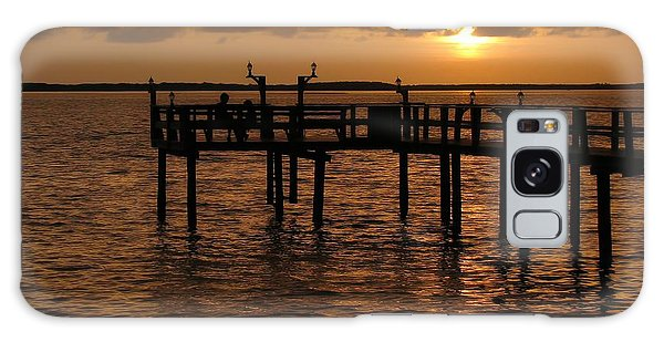 Sunset On The Dock Galaxy Case by Peggy Hughes