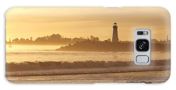 Sunset On The Lighthouse In Santa Cruz Harbor Galaxy Case by Artist and Photographer Laura Wrede