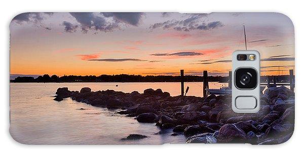 Sunset On The Rocks - Stonington Point Galaxy Case