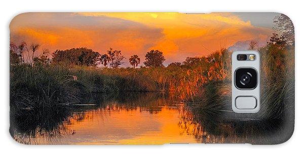 Sunset Over Camp Sandibe Galaxy Case