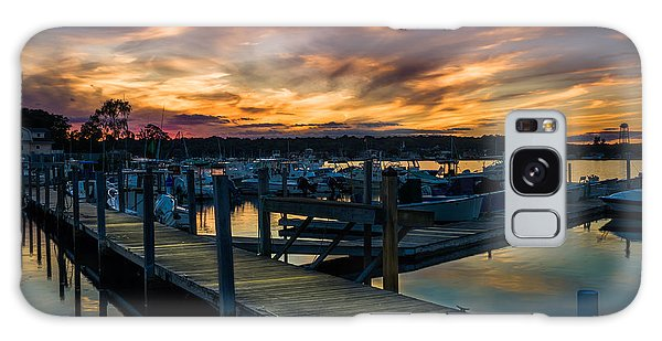 Sunset Over Marina On Mystic River Galaxy Case