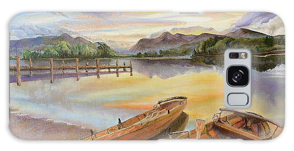 Sunset Over Serenity Lake Galaxy Case by Mary Ellen Anderson