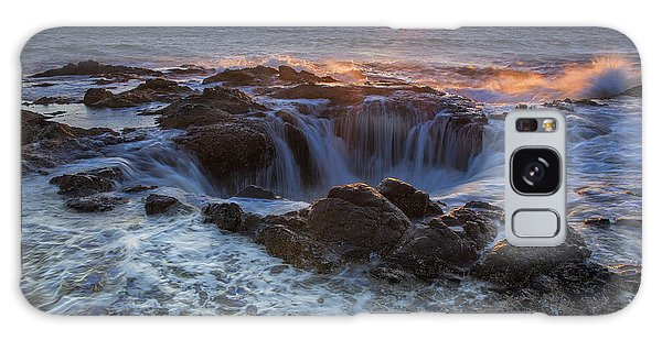 Sunset Over Thor's Well Along Oregon Coast Galaxy Case