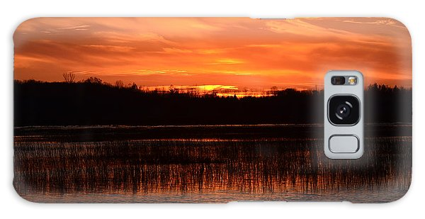 Sunset Over Tiny Marsh Galaxy Case by David Porteus