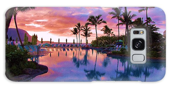 Sunset Reflection St Regis Pool Galaxy Case by Michele Penner