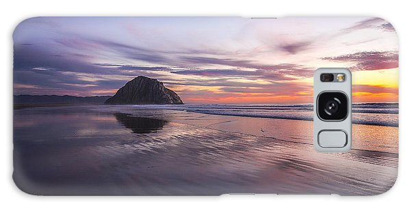 Sunset Reflections At Morro Bay Beach Rock Fine Art Photography Print Galaxy Case