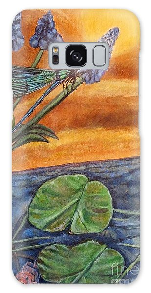 Sunset Setting Over A Dragonfly On A Water Lily Pond Galaxy Case by Kimberlee Baxter