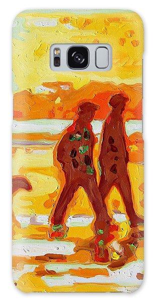 Sunset Silhouette Carmel Beach With Dog Galaxy Case
