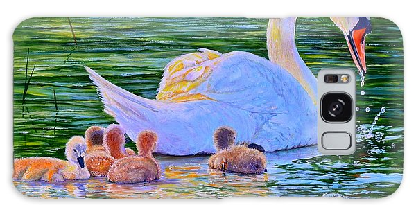 Sunset Swan Family Galaxy Case