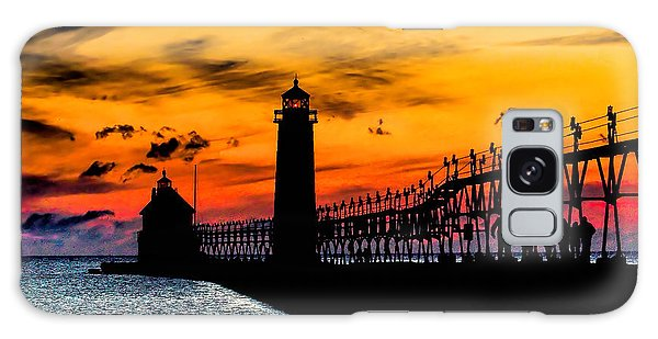 Sunset Walking On Grand Haven Pier Galaxy Case