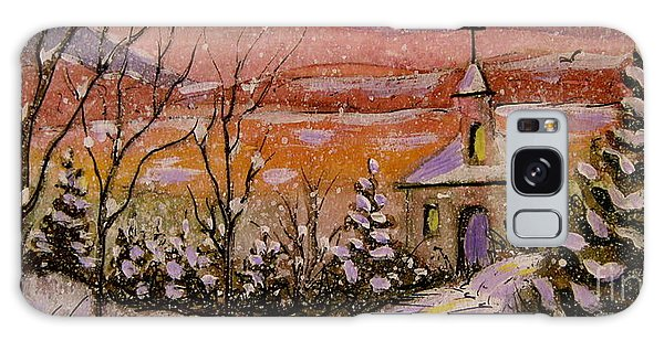 Sunset Winter Church Galaxy Case