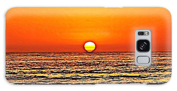 Sunset With Seagull Galaxy Case by Sharon Soberon