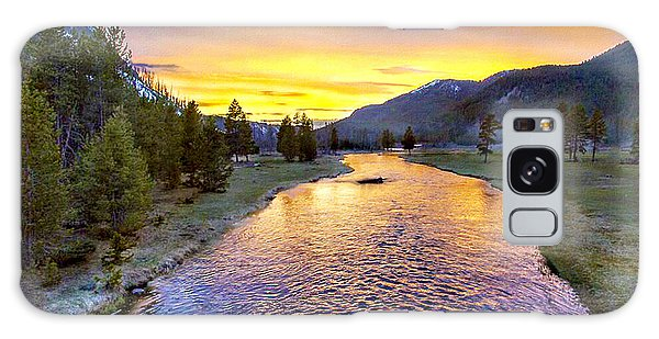 Sunset Yellowstone National Park Madison River Galaxy Case