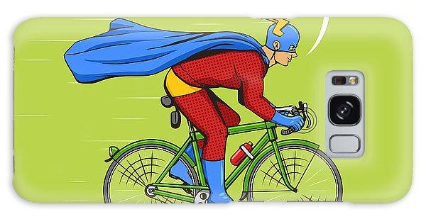 Superhero Galaxy Case - Superhero On A Bicycle Cartoon Pop Art by Alexander p
