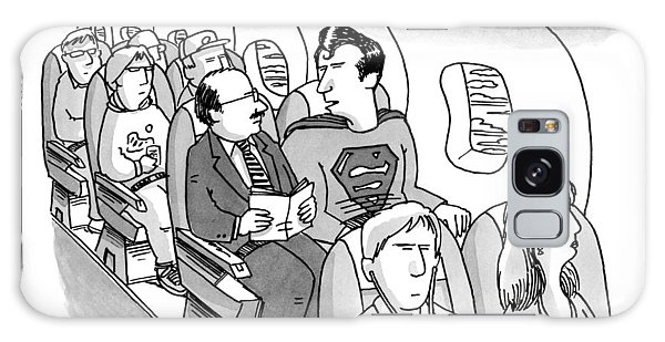 Superman Sits In A Plane Next To A Businessman Galaxy Case