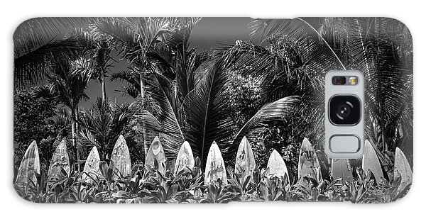 Galaxy Case featuring the photograph Surf Board Fence Maui Hawaii Black And White by Edward Fielding