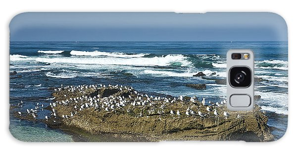 Surf Waves At La Jolla California With Gulls Perched On A Large Rock No. 0194 Galaxy Case