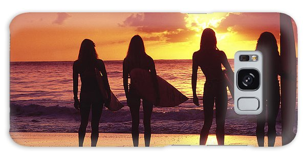 Surfer Girl Silhouettes Galaxy Case