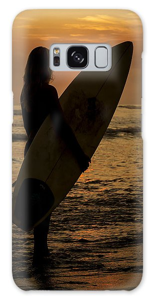 Surfer Girl Sunset Silhouette Galaxy Case