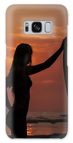 Surfer Sunset Silhouette Galaxy Case