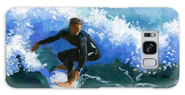 Surfin' Huntington Beach Pier Galaxy Case by Alice Leggett