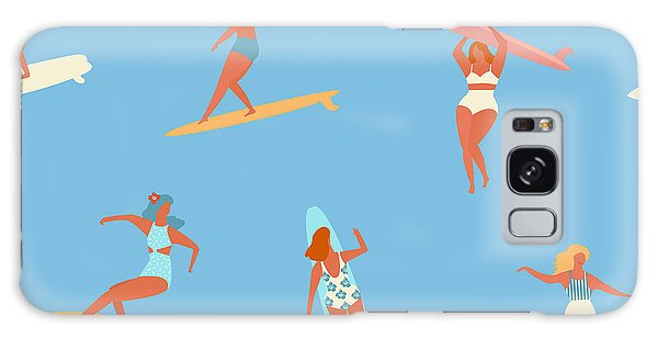Active Galaxy Case - Surfing Girls Illustration In Vector by Tasiania