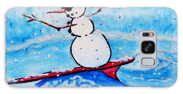 Surfing Snowman Galaxy Case