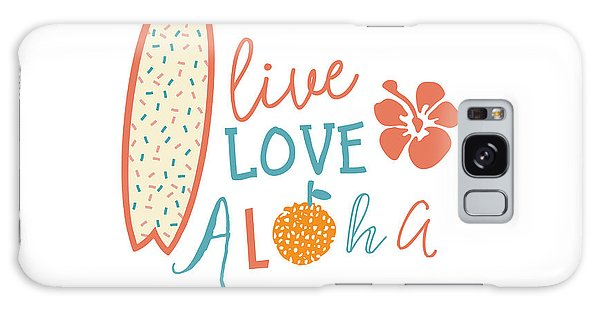 Hibiscus Galaxy Case - Surfing Summer Emblem With Text Quote by Tasiania
