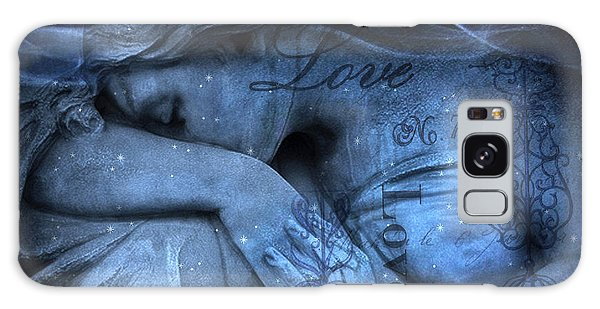 Surreal Blue Sad Mourning Weeping Angel Lost Love - Starry Blue Angel Weeping With Love Script Galaxy Case