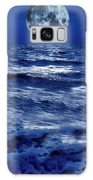 Surreal Moon Rise Over Stormy Waters Galaxy Case