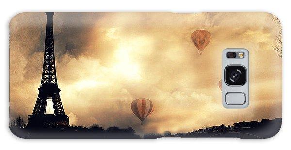 Paris Eiffel Tower Storm Clouds Sunset Sepia Hot Air Balloons Galaxy Case
