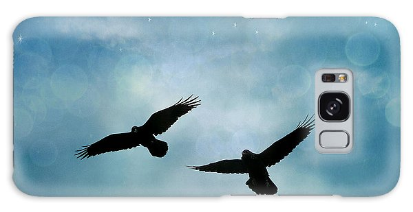 Surreal Ravens Crows Flying Blue Sky Stars Galaxy Case