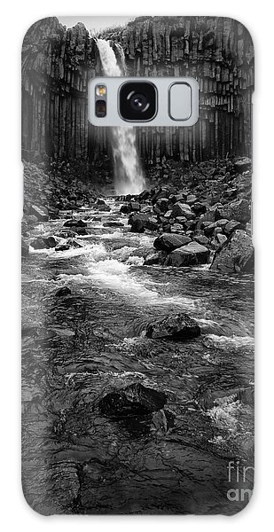 Svartifoss Waterfall In Black And White Galaxy Case
