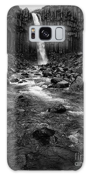 Svartifoss Waterfall In Black And White Galaxy Case by IPics Photography