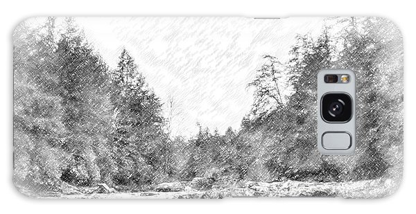Swallow Falls Waterfall Pencil Sketch Galaxy Case