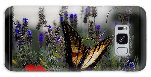 Swallowtail Among Blue Flowers Galaxy Case by John  Kolenberg