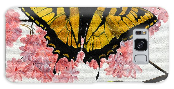 Swallowtail In Cherry Blossoms Galaxy Case by Jane Axman