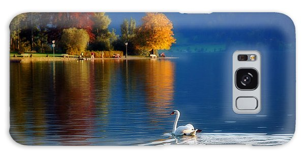 Beautiful Autumn Swan At Lake Schiliersee Germany  Galaxy Case