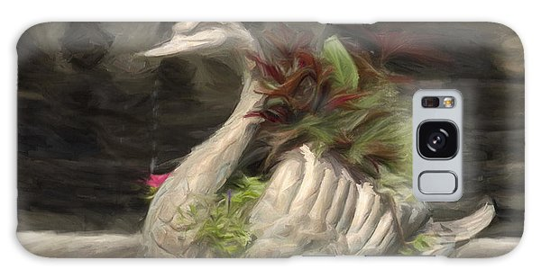 Swan With Beautiful Flowers Galaxy Case