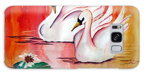Swans In Love Galaxy Case by Lil Taylor