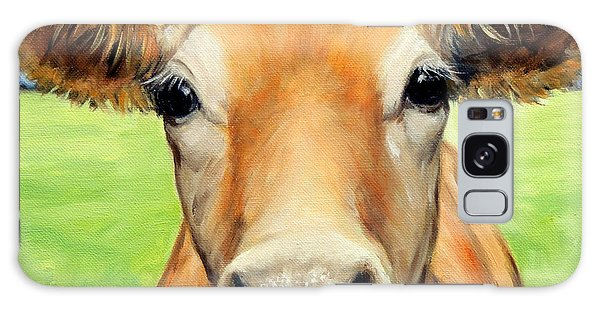 Sweet Jersey Cow In Green Grass Galaxy Case