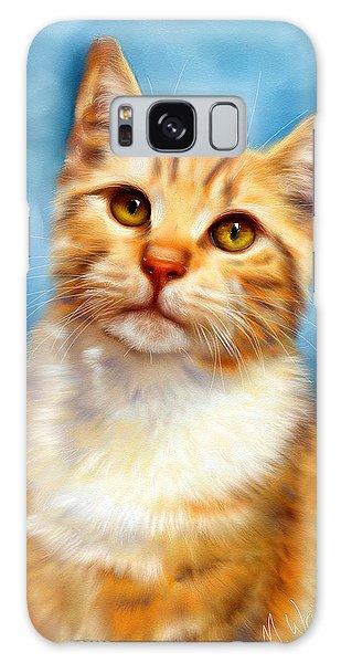 Sweet William Orange Tabby Cat Painting Galaxy Case