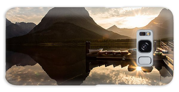 Swiftcurrent Lake Boats Reflection And Flare Galaxy Case