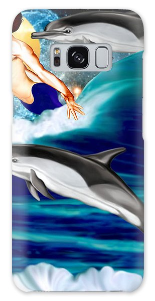 Swimming With Dolphins Galaxy Case